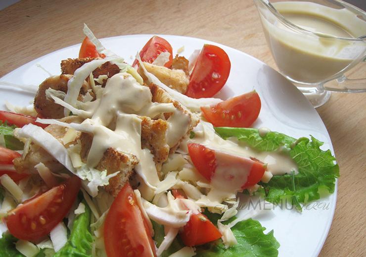 Соус для салата Цезарь: классический рецепт салата с курицей