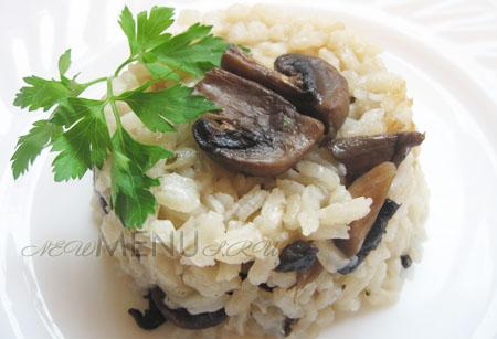 Как приготовить рис постный с грибами и луком